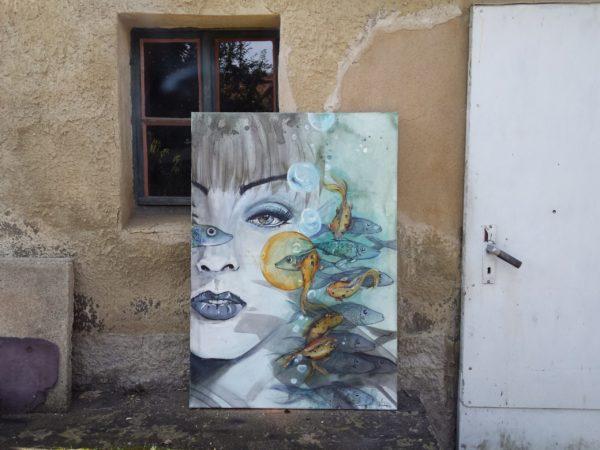 """Acrylmalerei auf Leinwand """"Gegen den Strom"""""""