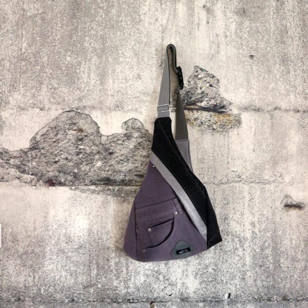 Bodybag Jeansupcycling graue & schwarze Jeans